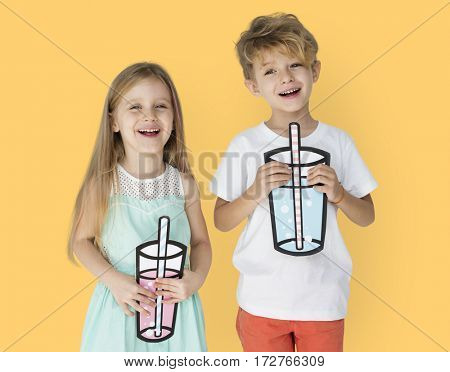 Caucasian KIds Holding Paper Drinking