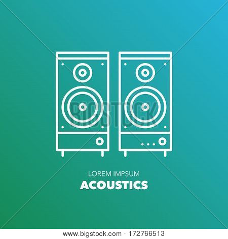 Unique detailed thin line logo for your event or business. Office or home technic and electronic device logo. Pair of acoustic system. Vector illustration element.