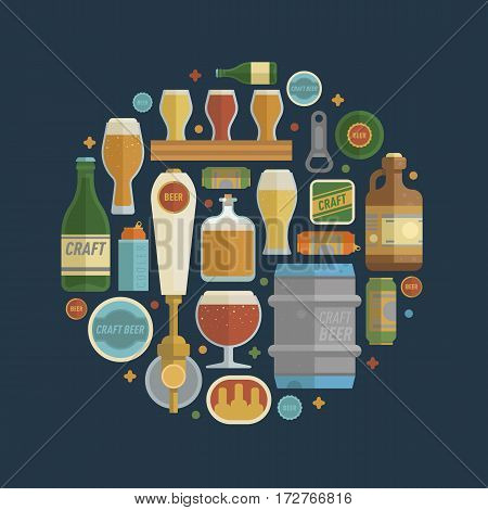 Craft beer items creative set in circle. Differens beer elements include bottles, glasses, keg, can and bottle opener for bar, pub, home brewery, alcohol store. vector illustration art in flat style.