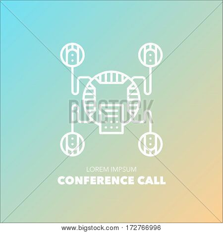 Unique detailed thin line logo for your event or business. Office technics and electronic device logo. Conference call system. Vector illustration element.