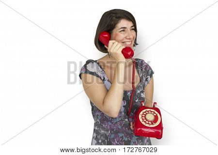 Woman holding and calling telephone