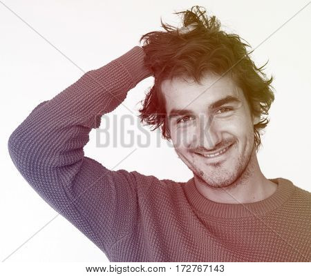 Man Face Expression Cheerful Portrait Studio
