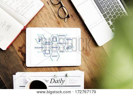 Computer network creative design hexagon