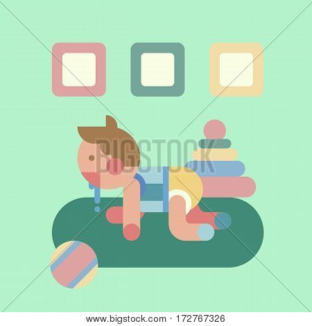 Cute baby playing with ball and pyramid postcard. Small creeping child in his room with a lot of toys. Poster or gift card. Geometry flat vector illustration.