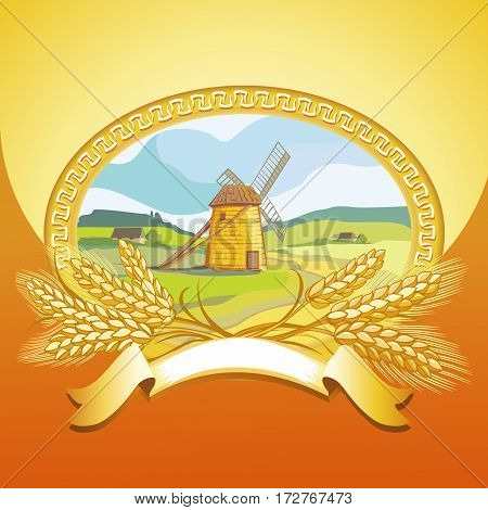vector illustration of old mill and wheat