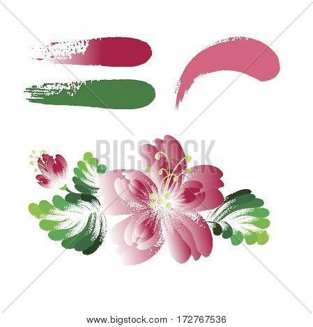 Vector flowers, decorative painting element. Imitation of brush strokes