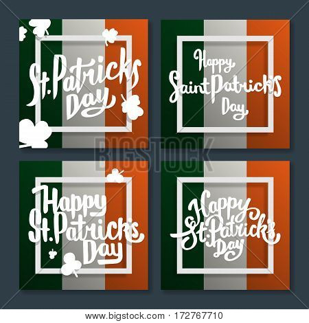 Collection of Happy Saint Patricks day lettering postcards. Greeting cards or banner. National holiday of Ireland. Modern hand drawn letters on ireland flag. Abstract modern style. Vector illustration