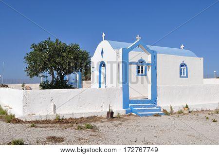 blue and white church of island Kos,Greece
