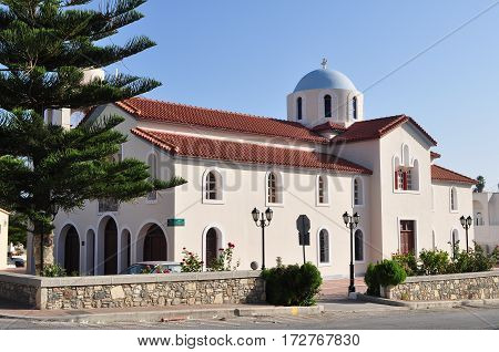Famous church of New Pili village on island Kos, Greece