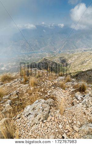 a photo taken from the mountain peak in Marbella, Spain