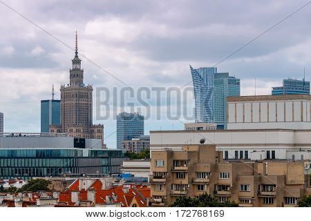 View of Warsaw from the observation deck of the Palace of Culture and Science.