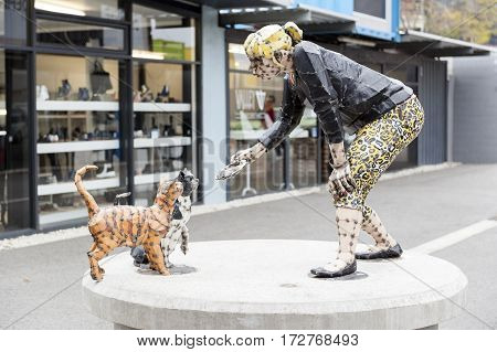 Christchurch, New Zealand - February 2016: One Of The Street Sculptures Installed At Restart Mall To