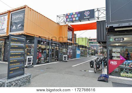 Christchurch, New Zealand - February 2016: Restart Or Re:start Mall, An Outdoor Retail Space Consist