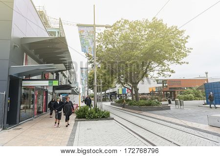 Christchurch New Zealand - February 2016: Restart or Re:START Mall an outdoor retail space consisting of shops and stores in shipping containers
