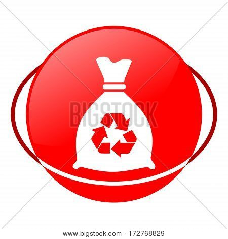 Red icon, bag for trash vector illustration on white background