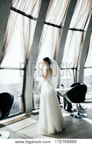 Gorgeous bride with dark hair wearing white wedding dress and standing near big window and looking straight, portrait, copy space.