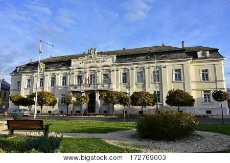 historic buildings of town Mosanmagyarovar in hungary