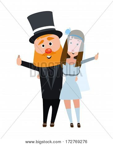 The bride and groom in an embrace. Happy romantic couple. Young people on a white background. The girl in a wedding dress and a man in a suit. Happy bearded man with a dark haired girl.