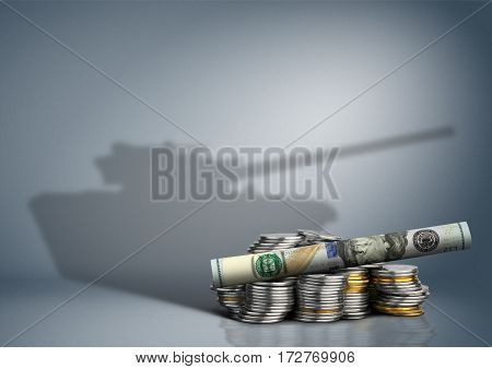 military budget concept banknote with weapon shadow