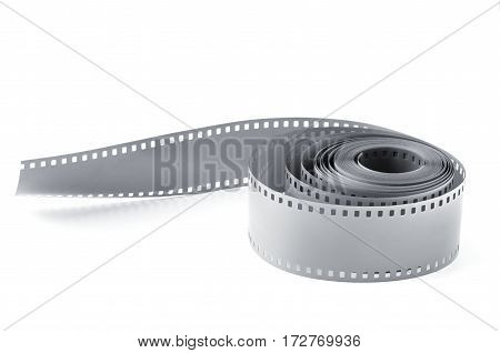 twisted film strip film on white background