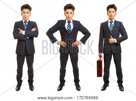 Three versions of full body shot of business man isolated on white background