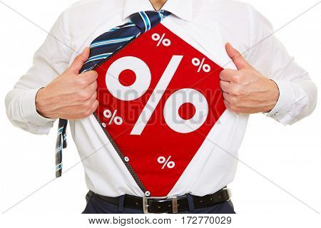 Percent as discount symbol for special offer on a shirt of a manager
