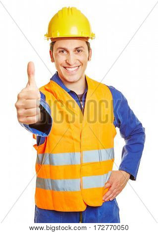 Smiling construction worker with hardhat holding thumbs up