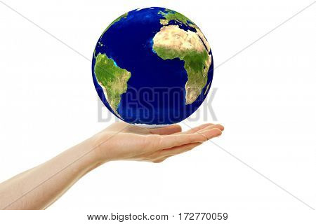 Concept for sustainability with hoovering earth globe over a hand