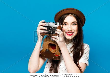 Stylish Girl With Camera. Blue Background. Summer Time.