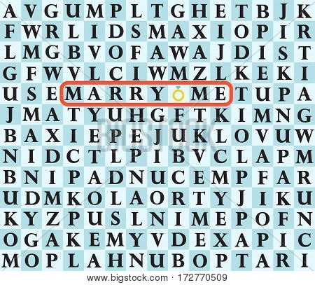 Marry me. Proposal Vector Card. Cartoon vector illustration