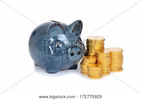 blue piggy bank with gold coins on white background
