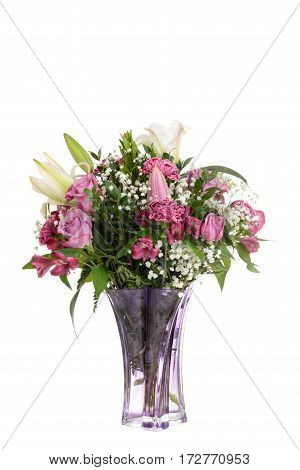 bouquet pink roses with lilies and carnations