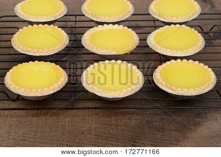 rows of lemon tarts cooling on wire rack