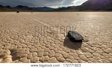 The Racetrack Playa, Moving stone in the desert of Death Valley National Park, California,