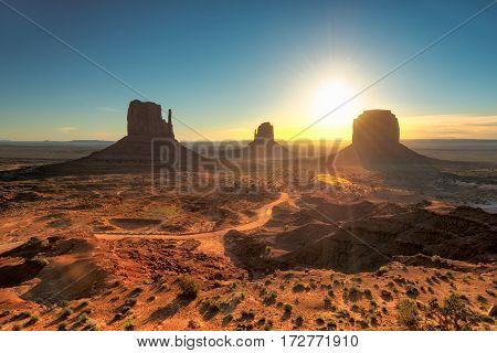 Monument Valley at sunrise, Western landscape, Arizona