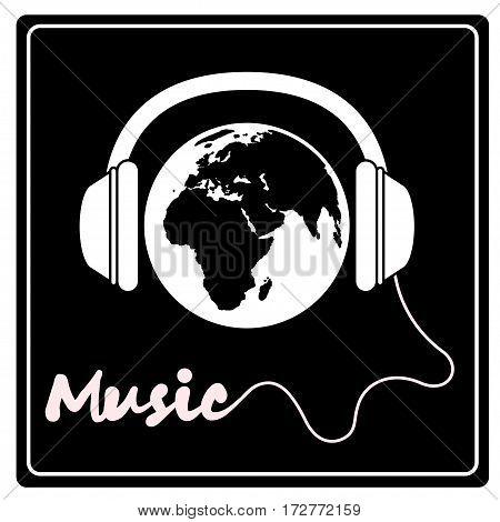World music. Vector illustration isolated on black