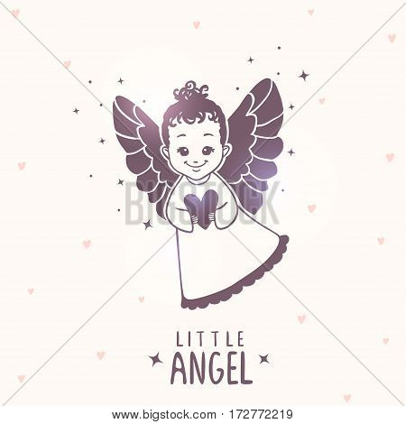 Cute cartoon silhouette little angel. Vector illustration