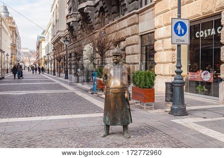 BUDAPEST HUNGARY - FEBRUARY 20 2016: The Fat Policeman Statue in Budapest city Hungary
