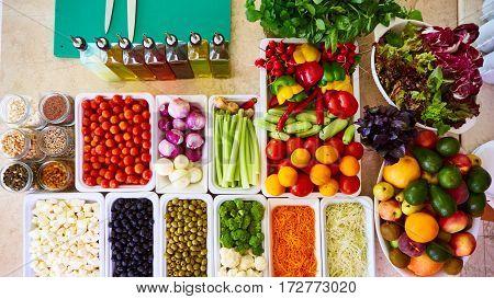 Salad Bar Fresh Vegetables sliced Top view Tomato Carrot Celery Cucumber Cherry tomato Sweet pepper