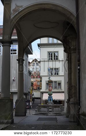 A beautiful Medieval fountain in Lucerne, Switzerland