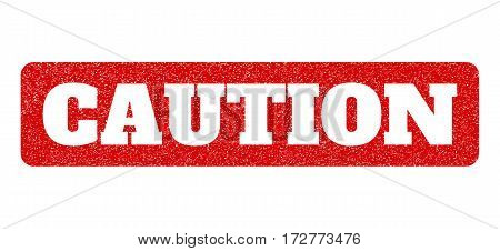 Red rubber seal stamp with Caution text hole. Vector caption inside rounded rectangular banner. Grunge design and dirty texture for watermark labels. Scratched sign.