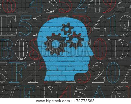 Data concept: Painted blue Head With Gears icon on Black Brick wall background with  Hexadecimal Code