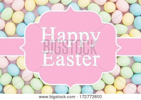 Old fashion Easter greeting Retro Easter eggs candy with text Happy Easter 3D Illustration
