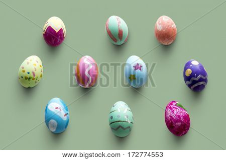A variety easter painted eggs isolated on background.