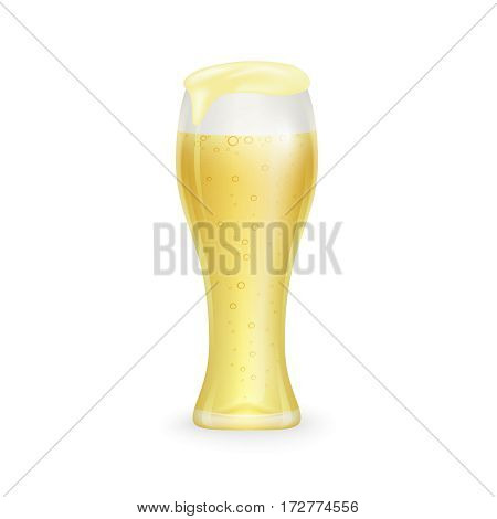 Glass of beer whith drops isolated on white background