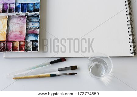 Painting Palette Sketchbook Paper Brushes White Table