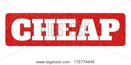 Red rubber seal stamp with Cheap text hole. Vector caption inside rounded rectangular shape. Grunge design and scratched texture for watermark labels. Scratched sign.