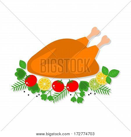 Vector flat illustration of roast chicken, turkey with garnish, isolated on white background.