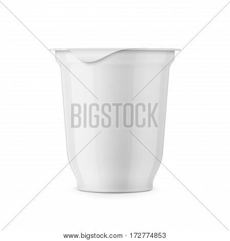 Round white glossy plastic pot with textured foil cover for dairy products, yogurt, cream, dessert. 350 g. Realistic packaging mockup template. Front view. Vector illustration.