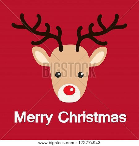 Reindeer red nose cartoon christmas card. Vector Illustration